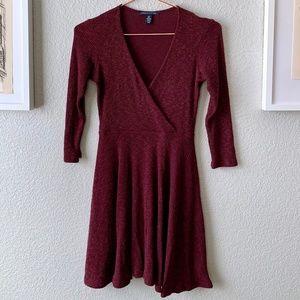 American Eagle Long Sleeve Wrap Sweater Dress